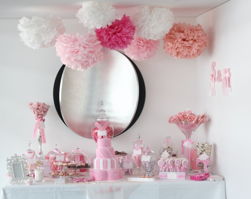 pink-white-wedding-dessert-candy-buffet-tissue-paper-pom-poms